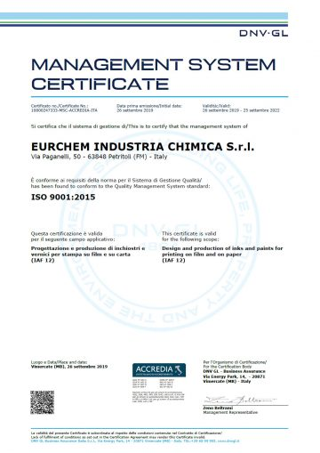 CERTIFICATO - EURCHEM INDUSTRIA CHIMICA S.r.l. - ISO 9001